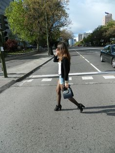 Castellana Street #denim #shorts #white #black #boots #madrid