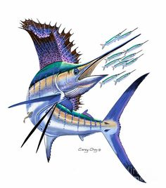 Sailfish Digital Digital Art by Carey Chen Marlin Azul, Blue Marlin, Beautiful Sea Creatures, Fish Drawings, Underwater Creatures, Nautical Art, Aquarium, Fish Print, Fish Design