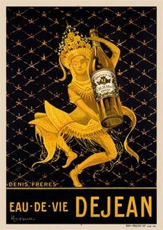 Eau De Vie Dejean water poster  by Cappiello 1912 France - Beautiful Vintage Poster Reproduction.