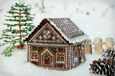 Beautiful gingerbread house with piped icing decorations