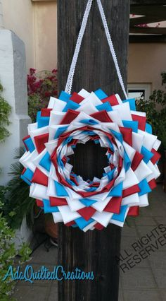This item is unavailable Patriotic Wreath, 4th Of July Wreath, Fabric Wreath, Quilted Ornaments, Outdoor Wreaths, Round Door, Door Hangers, Etsy Handmade, Decor Crafts
