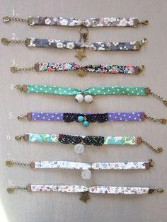 bracelets liberty Bracelets Liberty, Fabric Bracelets, Cord Bracelets, Textile Jewelry, Fabric Jewelry, Jewelry Art, Jewelry Crafts, Handmade Jewelry, Bracelet Making