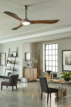 "With a clean, modern aesthetic and Hand Carved Balsa Wood Blades inspired by a mid-century aesthetic, the 72"" Minimalist Max fan by Monte Carlo has a dramatic presence in large rooms. It features an integrated 16W LED downlight, and a remote control."