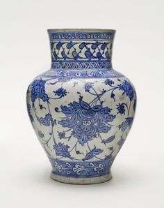 Jar Turkey, Iznik, early 16th century Ceramics Fritware, underglaze-painted Height: 9 1/2 in. (24.2 cm ); Diameter: 4 3/8 in. (11.2 cm ) The Edwin Binney, 3rd, Collection of Turkish Art at the Los Angeles County Museum of Art (M.85.237.80) Islamic Art