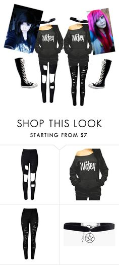 """""""Waifus"""" by mewmewchan ❤ liked on Polyvore featuring WithChic, Converse and Boohoo"""
