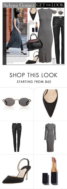 """""""Selena Gomez"""" by mery90 ❤ liked on Polyvore featuring Oliver Peoples, Manolo Blahnik, H&M, GetTheLook, StreetStyle and CelebrityStyle"""