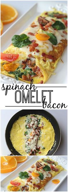 Easy trick to getting the perfect omelet!. Spinach, Bacon, Tomato and Cheese. Hello Breakfast!! ValentinasCorner.com