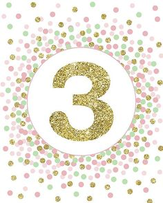Birthday Sign 3 Sign Printable Three Print Birthday Party Decorations Third Birthday Sign Pink Mint And Gold Confetti Party Decor Dinosaur First Birthday, Third Birthday, 3rd Birthday Parties, Birthday Party Decorations, Printing Services, Online Printing, Gold Confetti, As You Like, First Birthdays