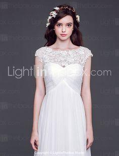 웨딩 드레스 - 화이트 A 라인/프린세스 쿼트 트레인 바토 튤 - USD $ 209.99