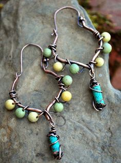 copper wirewrapped earrings by melinda orr designs
