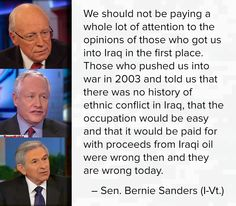 Bernie Sanders.  What we should not be doing!