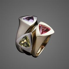 Pedro Boregaard rings with amethyst, green and pink sapphires |