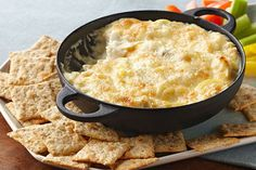 In our experience, this cheesy hot artichoke dip recipe goes fast! In the unlikely event of leftovers, refrigerate the artichoke dip in an airtight container for up to 3 days.