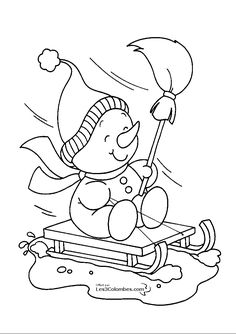 Printable Christmas snowman sledge coloring pages - Printable Coloring Pages For Kids printables christmas printables before christmas printables before christmas printables free christmas printables Coloring Book Pages, Printable Coloring Pages, Snowman Coloring Pages, Christmas Colors, Christmas Snowman, Christmas Decor, Kids Christmas, Christmas Trees, Christmas Embroidery Patterns
