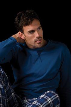 Pijama hombre en punto de algodon de y pantalones estampados de cuadros Soy Homewear #pijama #soy