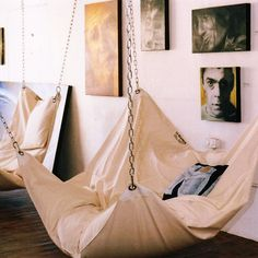 Le Beanock is a UK designed and built bean bag hammock chair that will eventually find its way into our own personal homes. Bean Bag Hammock, Hammock Bed, Hammocks, Bedroom Hammock, Hammock Ideas, Indoor Hammock Chair, Backyard Hammock, Indoor Swing, Home Organization