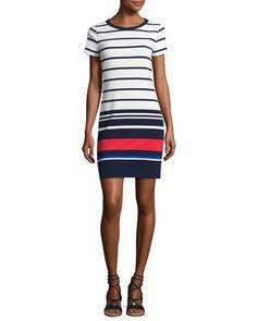 MICHAEL MICHAEL KORS Striped T-Shirt Dress, Navy. #michaelmichaelkors #cloth #