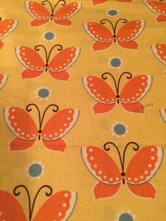 Freebird By MoMo for Moda Fabrics Butterfly Print By The 1/2 Yd Yellow / orange  | eBay