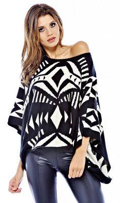 Aztec Pattern Knit Poncho Sweater