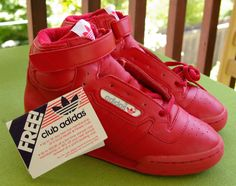1986 ADIDAS Deadstock 1980's Original Red Sports Sneakers High Tops with Velcro MINT with TAGS. $89.99, via Etsy.