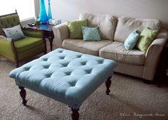 Love, Pomegranate House: DIY Tufted Ottoman from a Coffee Table. Always a fan of a great repurposing