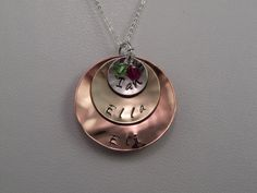 Personalized Hand Stamped Sterling Silver Brass by KrisTsCreations, $45.00