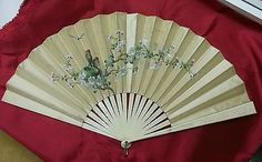 Antique Silk Fan with Painted Birds on Nest