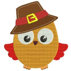 Fall Owl Wearing Big Hat Filled Machine Embroidery Design Digitized Pattern #thanksgiving #embdoidery #appliques #hat