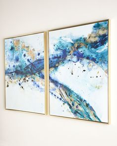 """Limited quantities left, own your """"Azure Canyon"""" giclees 2 panels framed wall canvas today. Simple Oil Painting, Oil Painting On Canvas, Pour Painting, Painting Frames, Frames On Wall, Framed Wall Art, Canvas Frame, Canvas Wall Art, Wall Art Sets"""