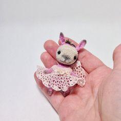 Mini amigurumi pink bunny with dress crochet tiny bunny от LozArts