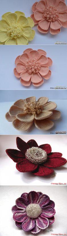 Цветок многослойный тунисским вязанием