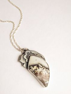 Sterling Floral Pendant - Necklace - Silver Lace Onyx - Silversmith - Rachel M Post