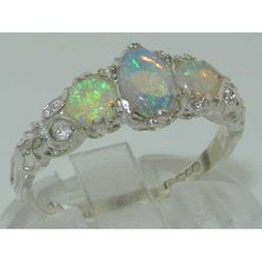 Amazon.com: Ladies Solid White 9K Gold Natural Fiery Opal English Victorian Trilogy Ring - Finger Sizes 5 to 12 Available: Jewelry
