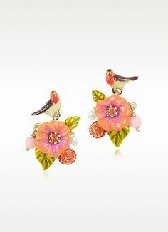 Les Néréides Sous le Chataignier - Robin and Flower Earrings | FORZIERI