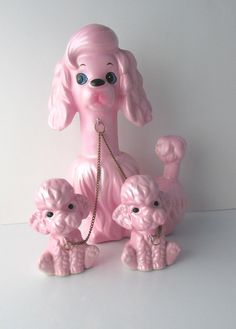 Poodle Mother & Pups Chain Figurine Pearlized by KanariKouture..... mrs amen ra x0 muah~