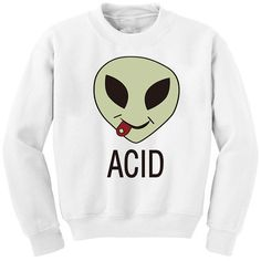 Chicnova Fashion Acid Alien Print Sweatshirt in White ($8.50) ❤ liked on Polyvore featuring tops, hoodies, sweatshirts, white crew neck sweatshirt, crewneck sweatshirt, crew neck sweatshirts, white top and crew-neck sweatshirts