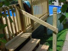 How to build an above ground Pool Deck Handrails , Fence and Gate Part 3 of 3
