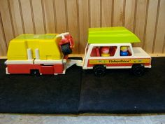 1980s Fisher Price Little People Family car and pop-up camper