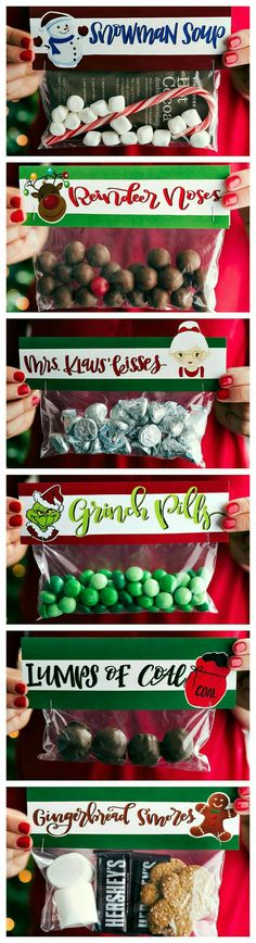 geschenkideen weihnachten 6 Homemade and Easy Christmas Gifts and Free Printable Toppers ~ These candies/treats are put in a snack-size ziplock bag and you can staple on the FREE printable bag toppers!