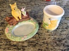 Classic Winnie the Pooh Piglet Soap Dish & Matching 3D Tumbler Cup Hand Painted