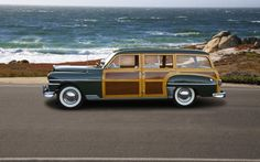 A DeSoto Woody Wagon along the highway in Monterey, California