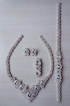 Grey Soustache jewelery , neklace, brosh, braclet and earrings