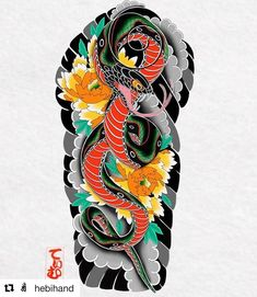 Caring For A New Tattoo - Hot Tattoo Designs Japanese Snake Tattoo, Japanese Dragon Tattoos, Japanese Tattoo Designs, Japanese Sleeve Tattoos, Irezumi Tattoos, Bodysuit Tattoos, Tattoo Snake, Tattoo Oriental, Japan Tattoo Design