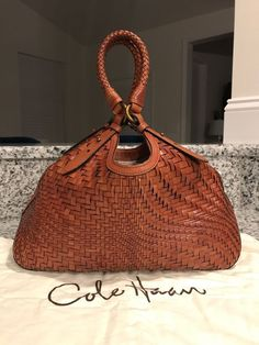 Cole Haan Genevieve Woven Leather Weave Triangle Saddle Hobo Tote Hand Bag Purse #ColeHaan #TotesShoppers GORGEOUS SADDLE BROWN COLOR!!! SALE!!! WOW!!!