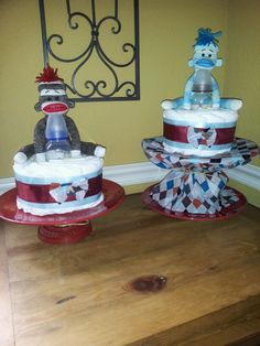 sock monkey diaper cake