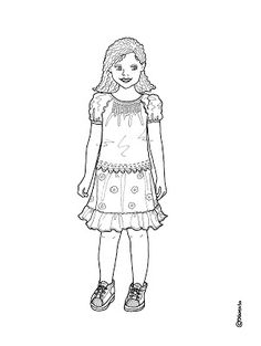 Karen`s Paper Dolls: Elisabeth Dressed to Print and Colour. Elisabeth klædt på til at printe og farvelægge.