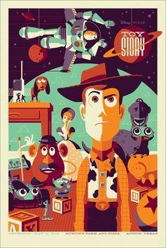 Updated - Mondo Toy Story Poster by Tom Whalen Disney Movie Posters, Film Disney, Art Disney, Cartoon Posters, Disney Kunst, Movie Poster Art, Disney Movies, Disney Pixar, Poster Design Movie