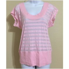 Express Top Size M Express Women's Blouse Size M Pink Color Alternating Sheer / Solid Stripe Pattern Cap Sleeve Scoop Neck Solid Ribbed Collar Solid Ribbed Bottom Band Hand Wash 56% Polyester 44% Cotton Armpit to Armpit Approx. 18 Inches Length From Rear Collar Approx. 29 Inches Shoulder Approx. 17 Inches MSRP $ 29.50 Express Tops Blouses
