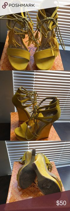 Yellow wedges Mona Mia collection wedges mona mia collection Shoes Platforms
