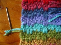 Weaving in ends on colorful projects